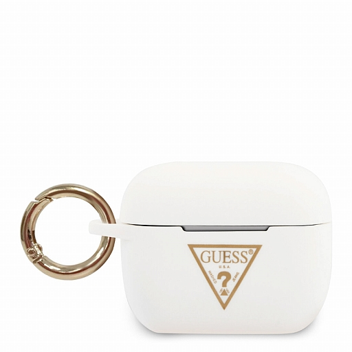 Чехол Airpods Pro Guess Silicone case Triangle logo with ring White