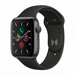 Apple Watch Series 5, 44mm Space Gray Aluminium Case, Black Sport Band