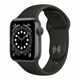Apple Watch Series 6 44mm Space Gray Aluminium Case, Black Sport Band