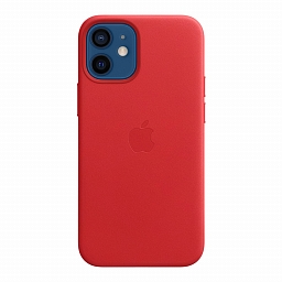 Чехол для iPhone 12 | 12 Pro Apple Leather Case with MagSafe - (PRODUCT)RED