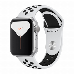 Apple Watch Nike+ Series 5, 40mm Silver Aluminum Case, Pure Platinum/Black Nike Sport Band