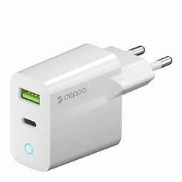 Сетевое зарядное устройство Deppa 65W Fast Charger with GaN Tech (USB A + USB-C, PD 3.0, QC 3.0) White