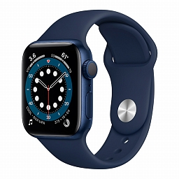 Apple Watch Series 6 40mm Blue Aluminium Case, Deep Navy Sport Band