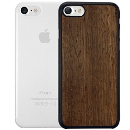 Набор из двух чехлов для iPhone 7/8/SE Ozaki Jelly Clear и Ozaki Wood Dark Brown