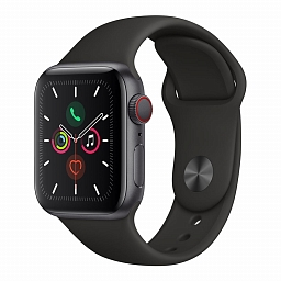 Apple Watch Series 5 + Cellular, 40mm Space Gray Aluminium Case, Black Sport Band