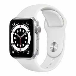Apple Watch Series 6 44mm Silver Aluminium Case, White Sport Band